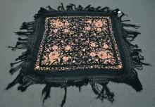 SILK PIANO SHAWL WITH NEEDLEWORK FLOWERS