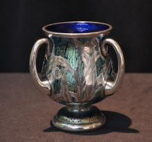 LOETZ STERLING OVERLAY IRIDESCENT ART GLASS