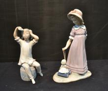 LLADRO GIRL WASHING HAIR & LLADRO GIRL WITH DOLL