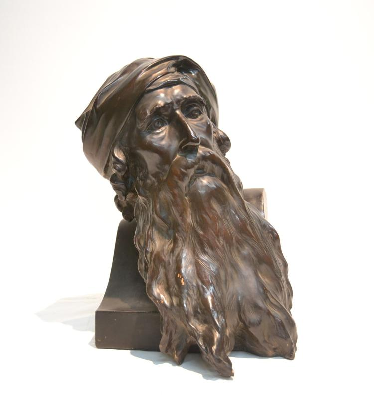 TERRCOTTA BUST OF BEARDED MAN SIGNED