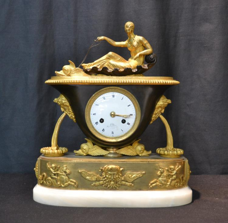 RESTORATION PERIOD BRONZE CLOCK DEPICTING