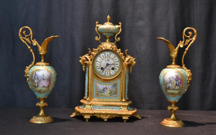 HAND PAINTED SEVRES PORCELAIN & BRONZE CLOCK