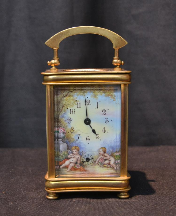 ENAMEL REPEATER CARRIAGE CLOCK WITH CHERUBS
