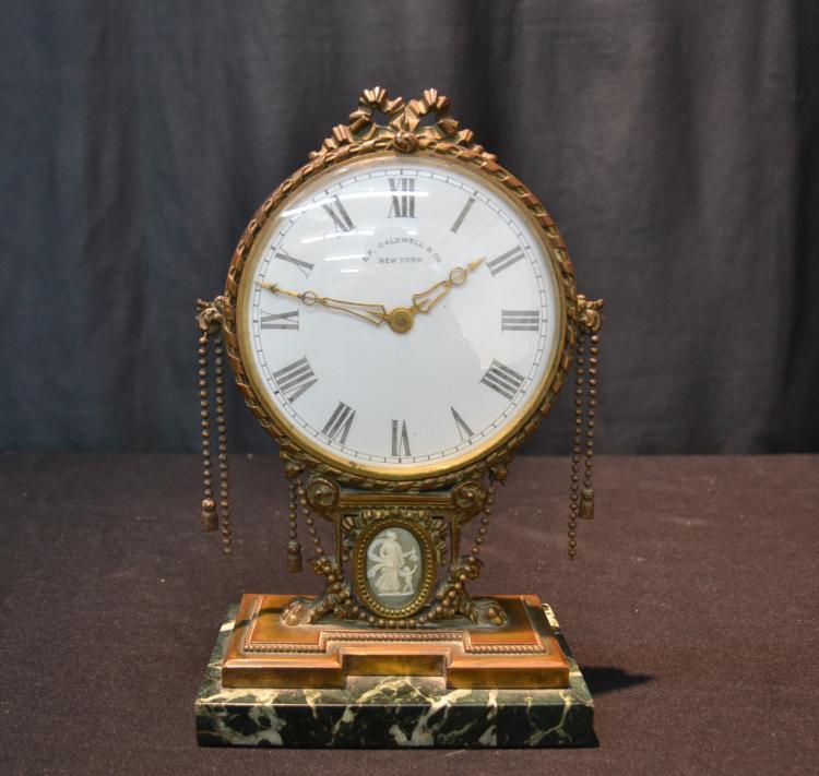 EDWARD F. CALDWELL & Co. BRONZE MANTLE CLOCK