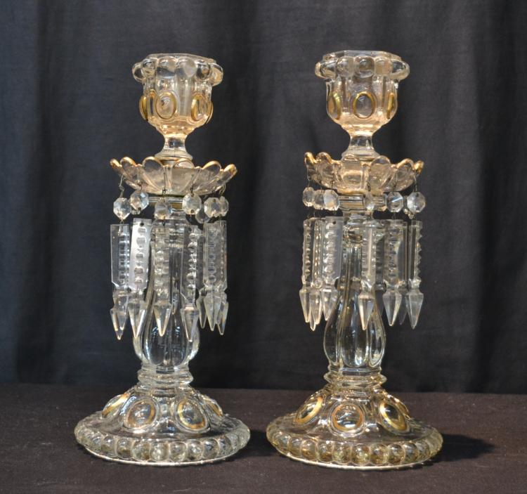 (Pr) UNSIGNED BACCARAT CRYSTAL CANDLESTICKS
