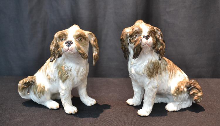 (Pr) MEISSEN PORCELAIN SPANIEL DOGS