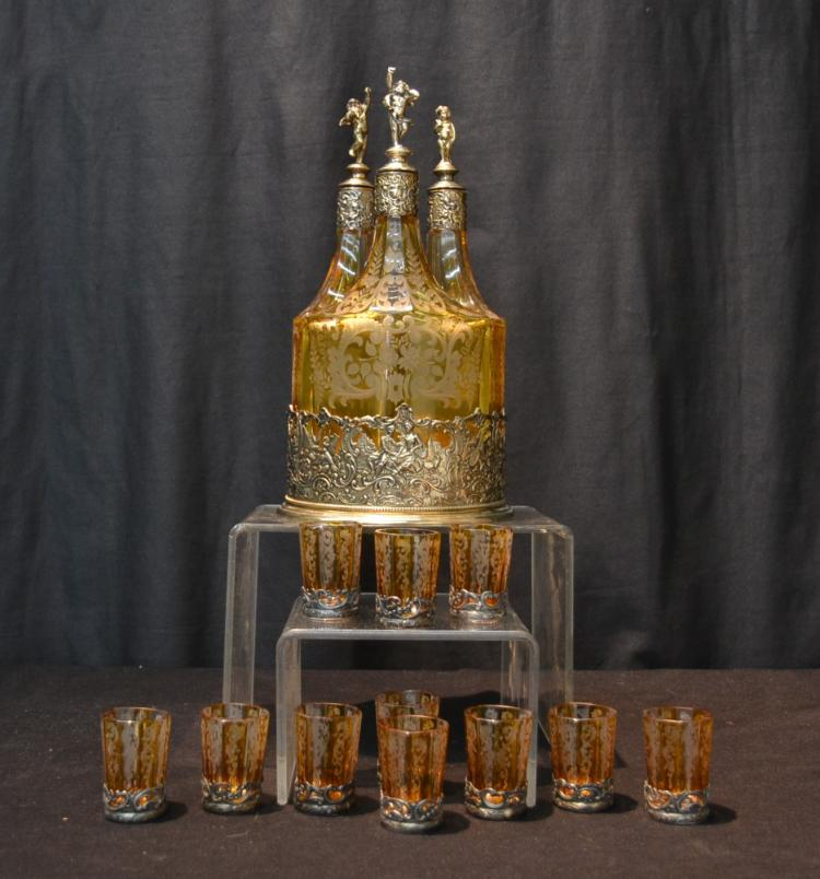 GERMAN STERLING SILVER 3-BOTTLE DECANTER SET