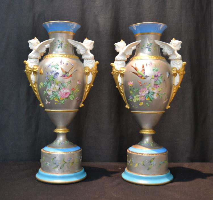 (Pr) SILVERED PARIS PORCELAIN VASES WITH WINGED
