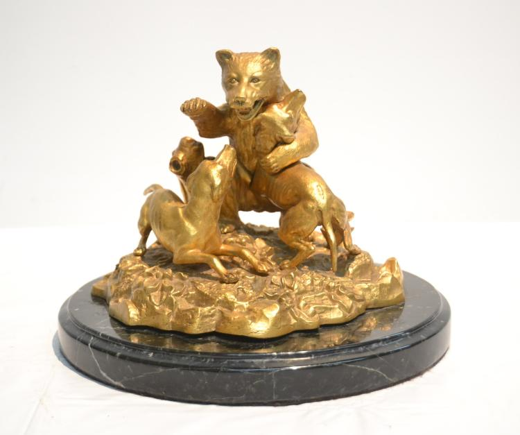 BRONZE BEAR & DOG HUNT GROUP INKWELL
