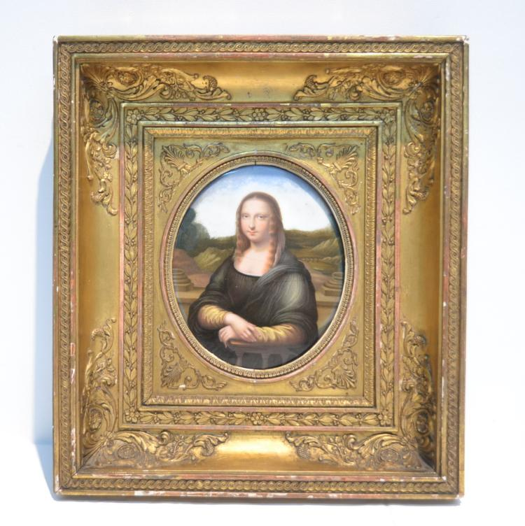 19thC OVAL ENAMELED COPPER PLAQUE OF MONA LISA