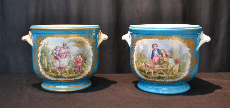 (Pr) AQUA SEVRES JARDINIERES WITH FIGURAL GROUPING