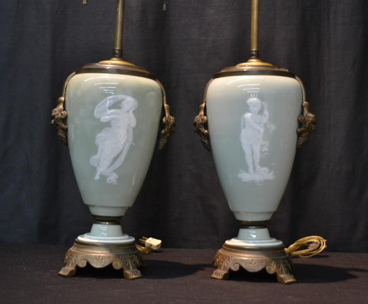 (Pr) PATE SUR PATE LAMPS DEPICTING BOY & GIRL