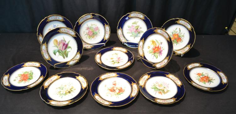 (12) OLD PARIS PORCELAIN FRUIT PLATES