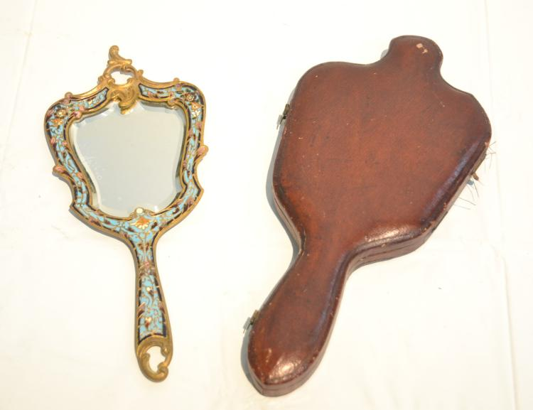 BRONZE & CHAMPLEVE HAND MIRROR WITH BEVELED