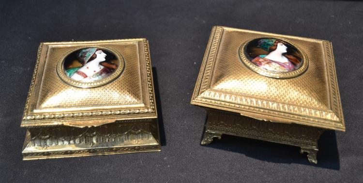 (Pr) FRENCH BRONZE BOXES WITH ENAMEL PORTRAITS