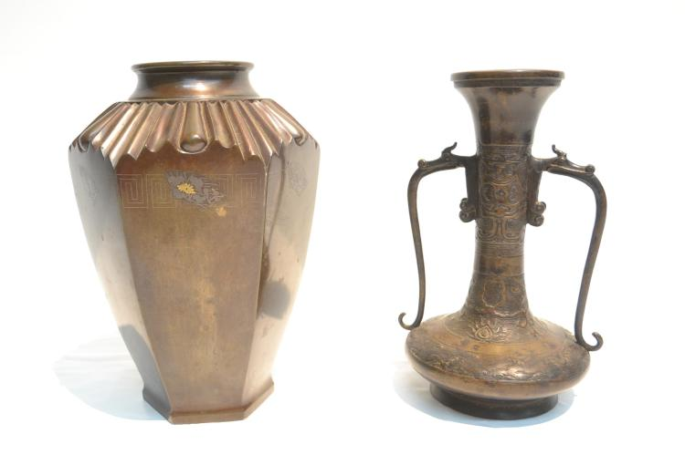 (2) ASIAN BRONZE VASES INCLUDING MING DYNASTY