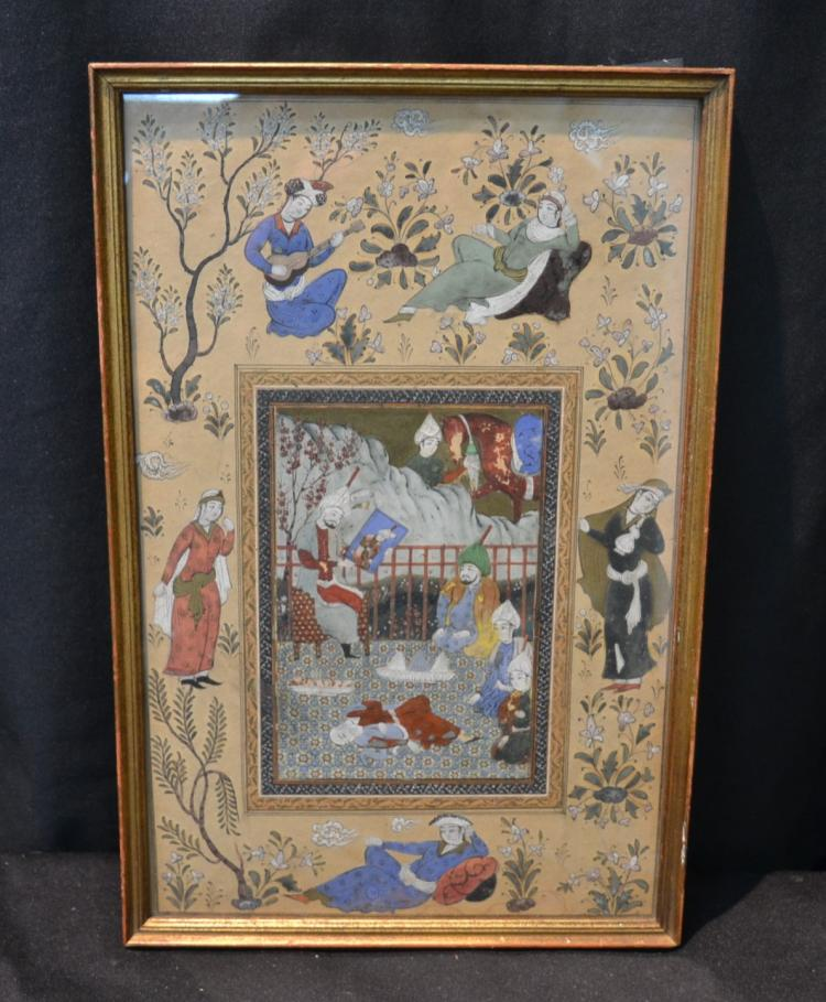 ANTIQUE PERSIAN MINIATURE PAGE WITH FIGURAL
