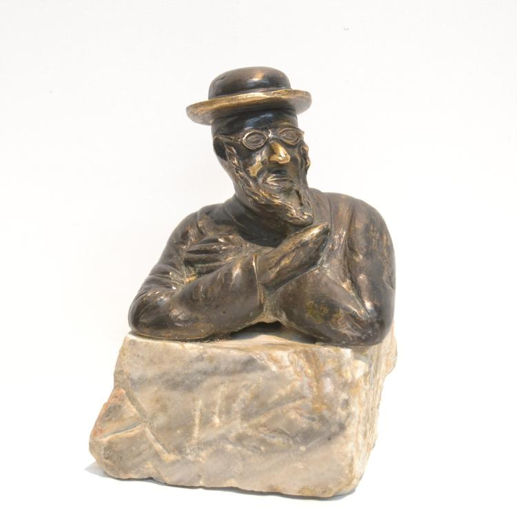 BRONZE RABBI ON STONE BASE