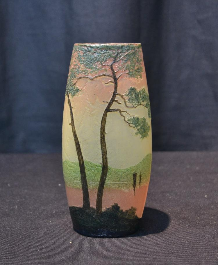 LEGRAS SCENIC ART GLASS VASE - 2 1/2