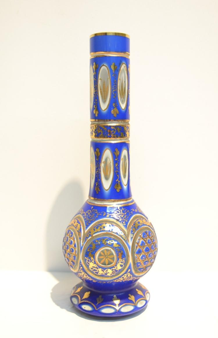 BOHEMIAN OVERLAY VASE WITH GOLD DECORATIONS