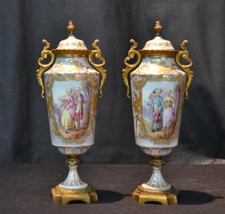 (Pr) HAND PAINTED SEVRES COVERED URNS WITH