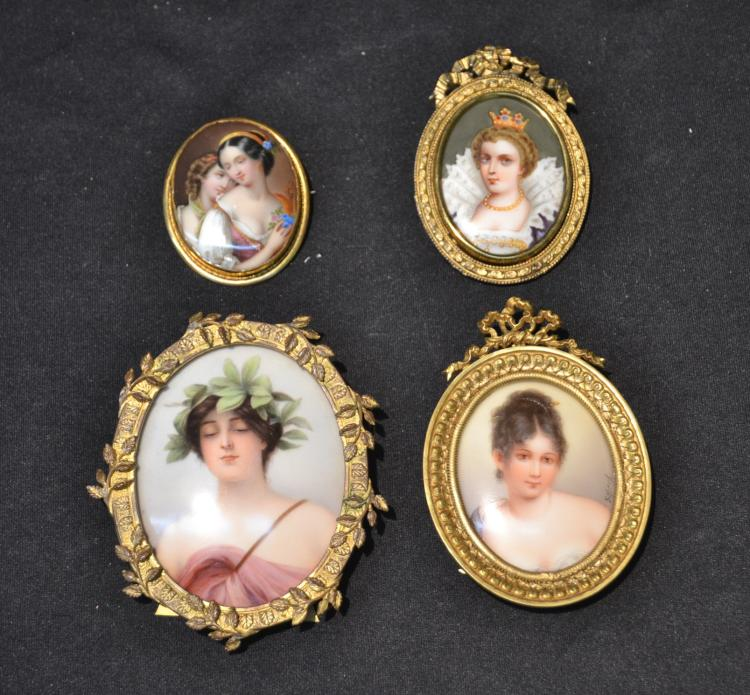 (4) HAND PAINTED MINIATURE PORTRAITS OF WOMEN