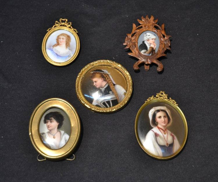 (5) HAND PAINTED MINIATURE PORTRAITS OF WOMEN