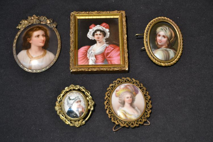 (5) HAND PAINTED MINIATURE PORTRAITS
