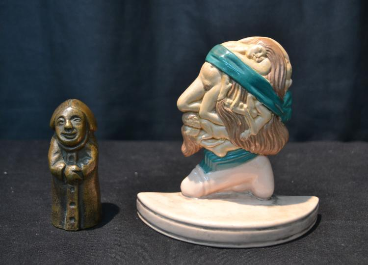 EROTIC BRONZE MONK & EROTIC PORCELAIN