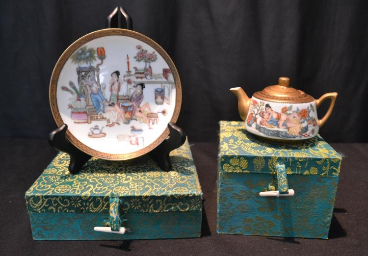 ORIENTAL EROTIC TEA POT & PLATE IN PRESENTATION