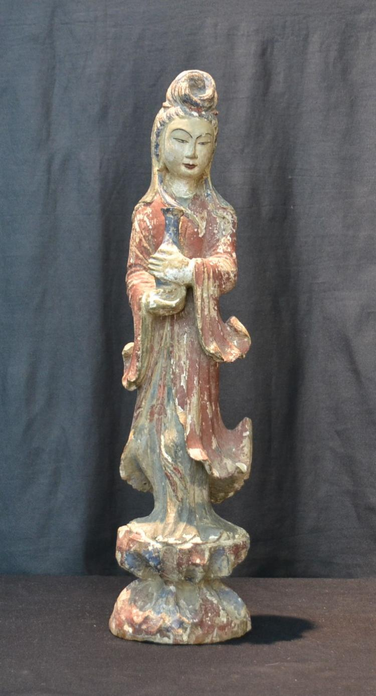CARVED WOOD QUAN YIN STATUE