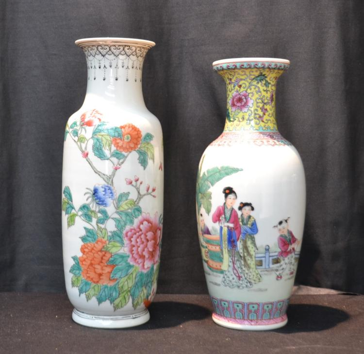 (2) ORIENTAL PORCELAIN VASS WITH FIGURES & FLOWERS