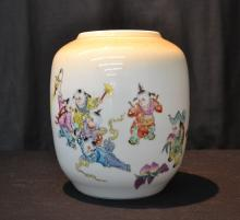 ORIENTAL PORCELAIN URN WITH CHILDREN PLAYING SCENE