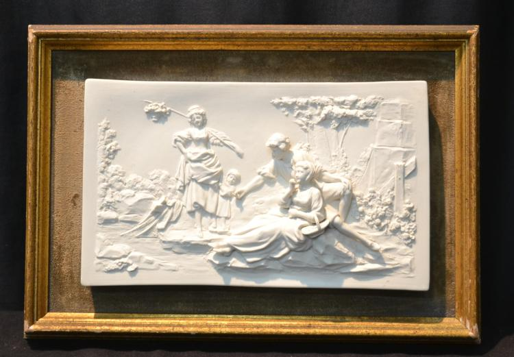 FRAMED BISQUE PORCELAIN PLAQUE WITH RAISED