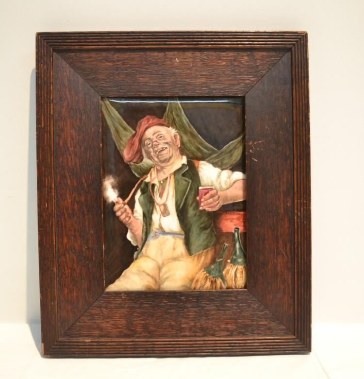 HAND PAINTED TV LIMOGES PLAQUE OF MAN SMOKING &
