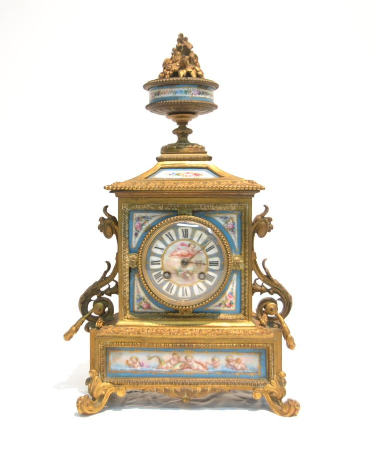 BRONZE & SEVRES PORCELAIN INSERT MANTLE CLOCK