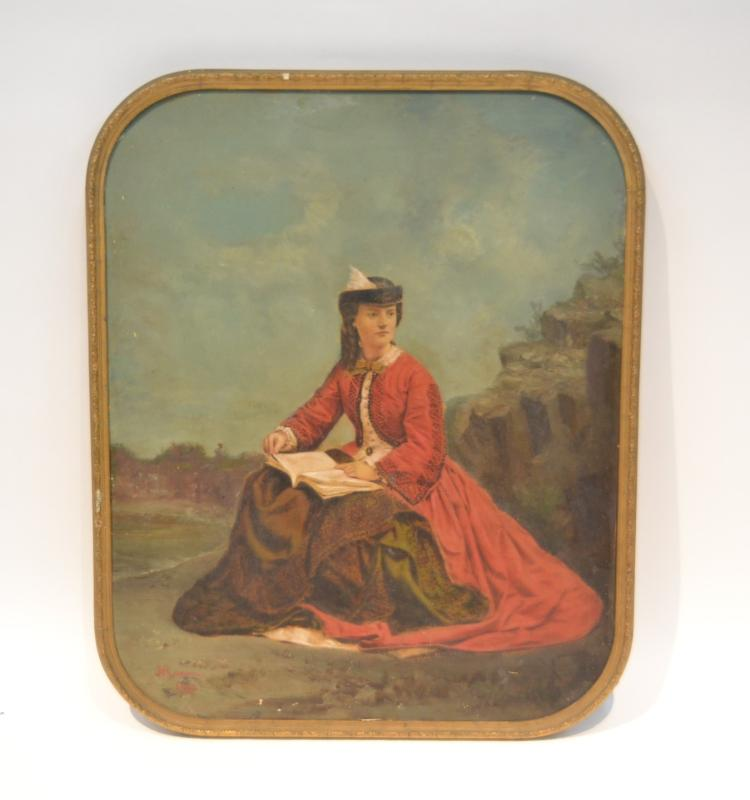 OIL ON CANVAS OVER PRINT OF GIRL WITH RED DRESS IN