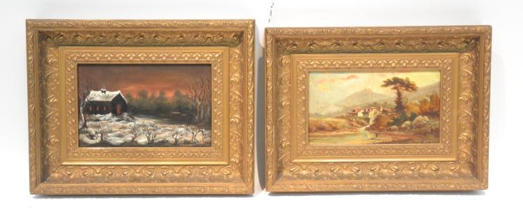 (Pr) ANTIQUE OIL ON BOARD MOUNTAIN LANDSCAPE