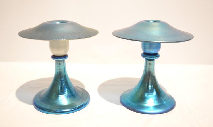 (2) STEUBEN BLUE IRIDESCENT CANDLESTICKS