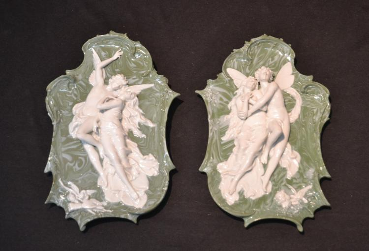 (Pr) ART NOUVEAU PORCELAIN PLAQUES WITH RAISED
