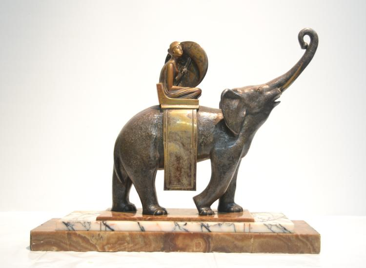 LARGE SILVERED BRONZE ELEPHANT WITH FEMALE RIDER