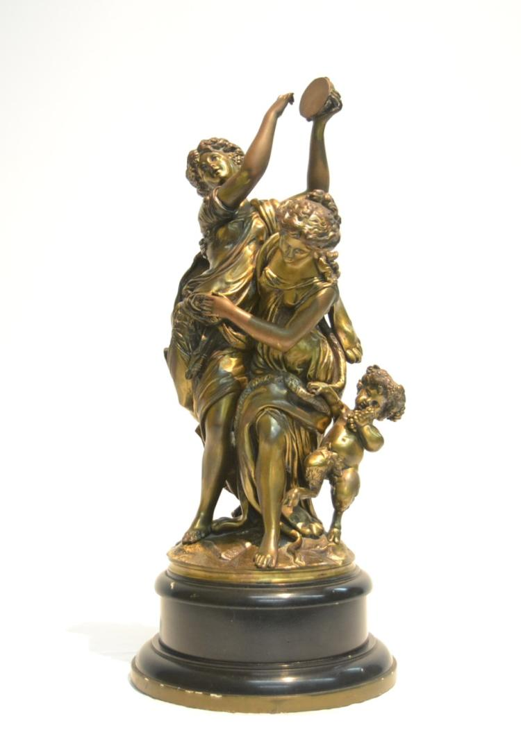 LARGE BRONZE DOUBLE FIGURE OF MAIDENS