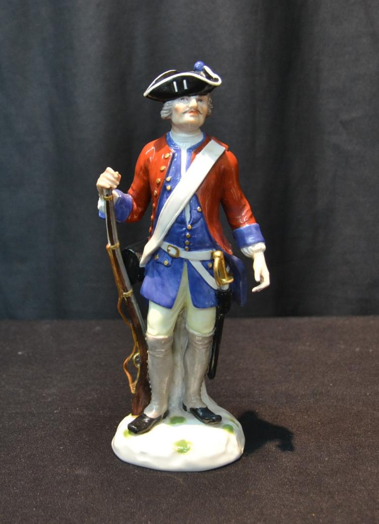 MEISSEN RED & BLUE WAIST COAT FRENCH SOLDIER