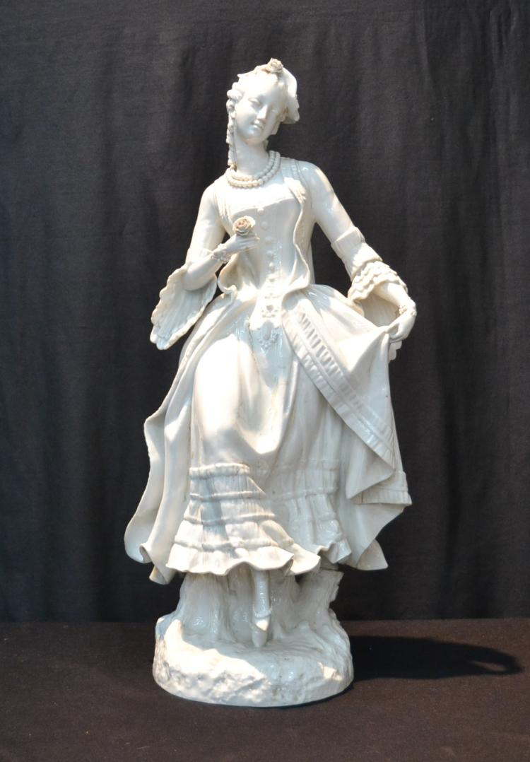 VERY LARGE BLANC MEISSEN PORCELAIN GIRL -