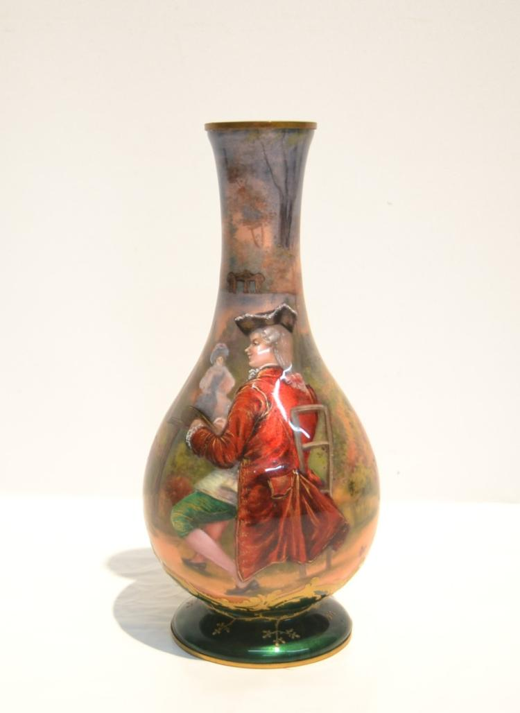 HAND PAINTED ENAMEL VASE DEPICTING MAN