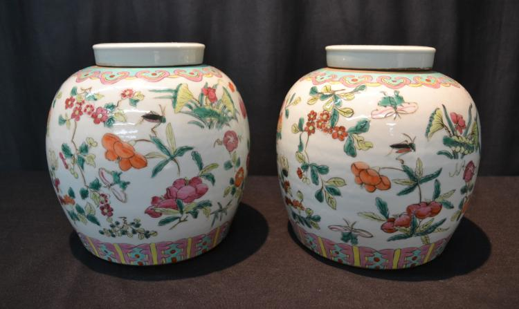 (2) CHINESE GINGER JARS WITH FLOWERS & INSECTS