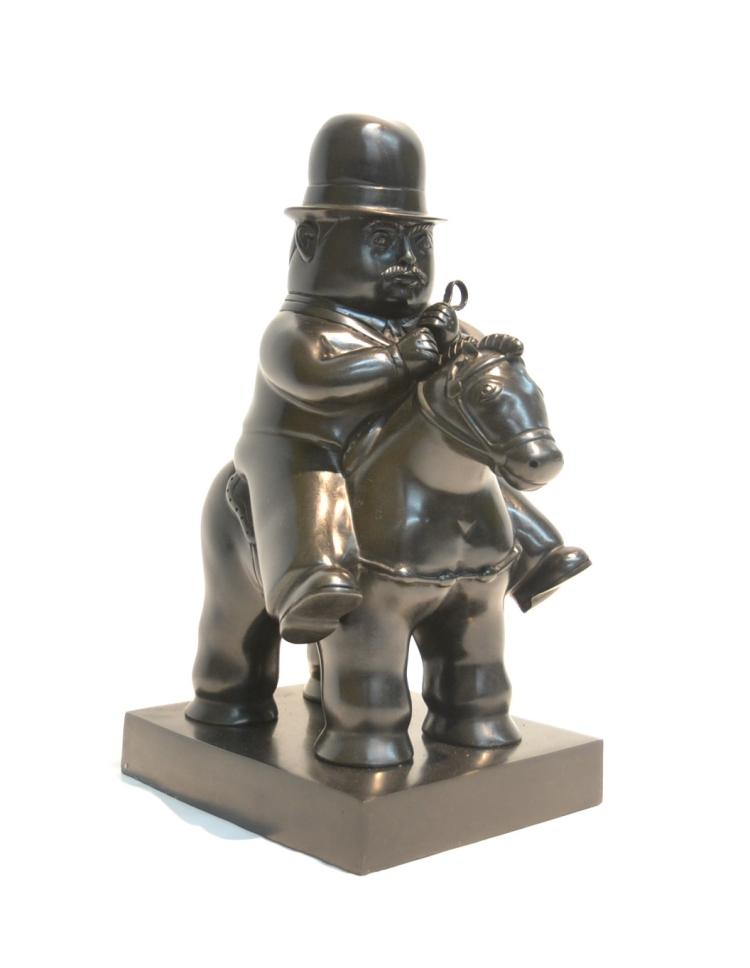 BRONZE BOTERO RECAST OF MAN ON HORSE