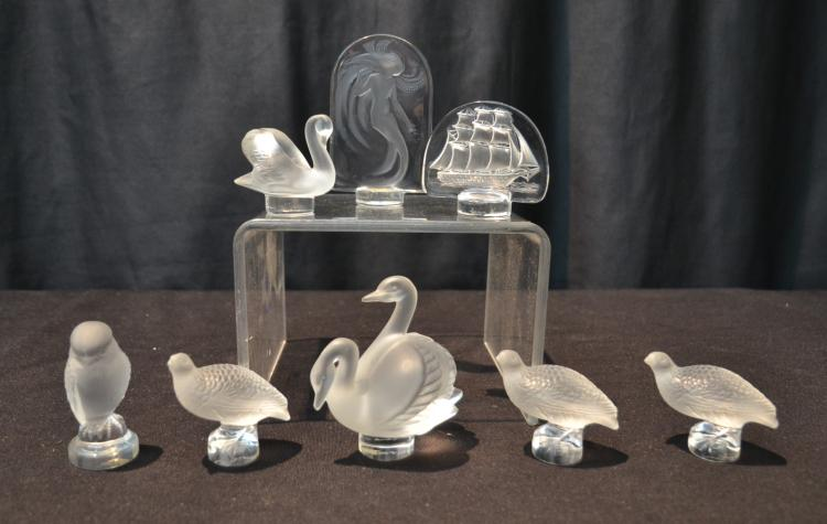 (6) LALIQUE PAPERWEIGHTS INCLUDING BIRDS ,