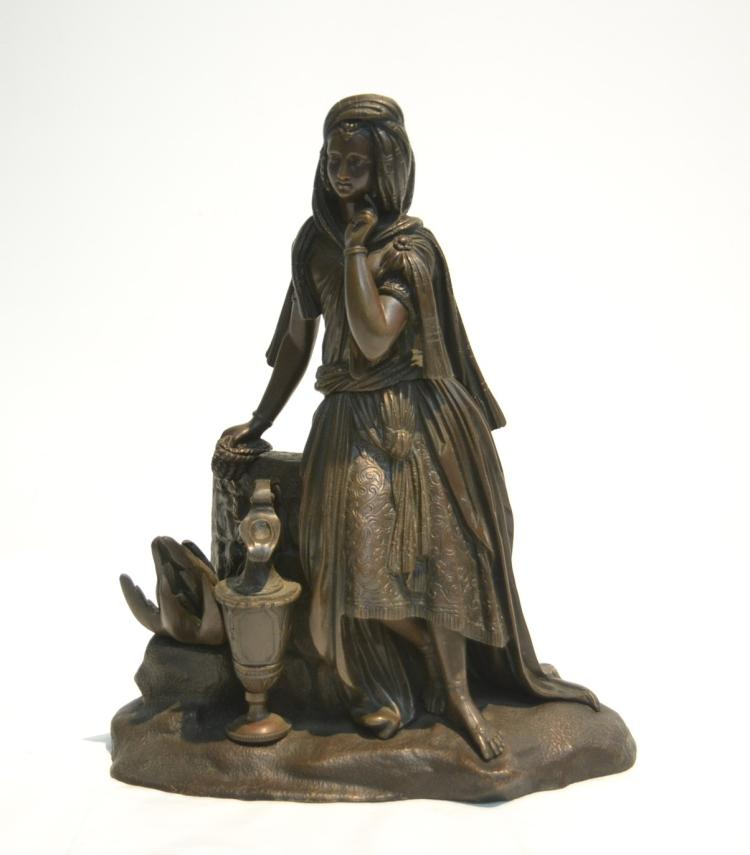 BRONZE GIRL WITH EWER , MARKED 1698