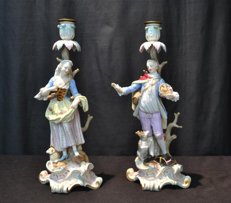 (Pr) MEISSEN FIGURAL CANDLESTICKS DEPICTING
